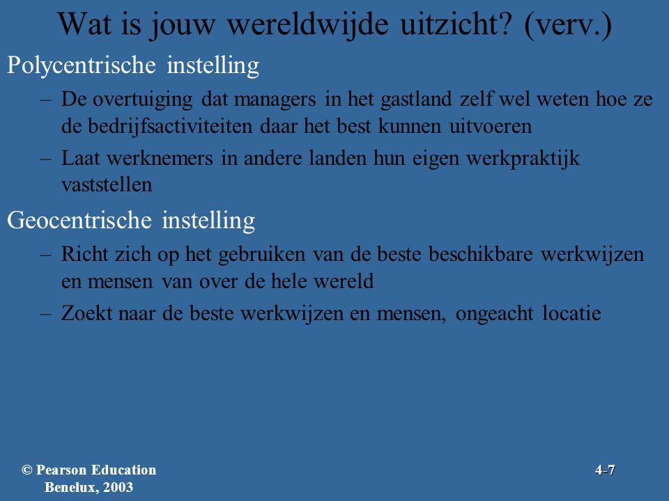 Figuur 4.2: Kernpunten van de drie wereldwijde perspectieven © Pearson Education Benelux, 20034-8