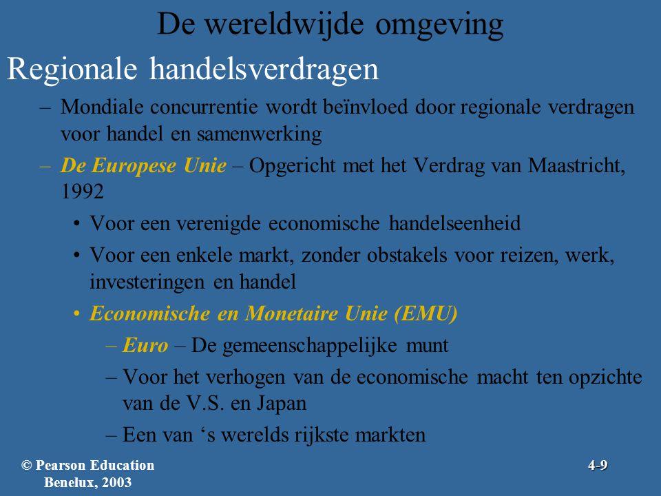 De wereldwijde omgeving Regionale handelsverdragen –Mondiale concurrentie wordt beïnvloed door regionale verdragen voor handel en samenwerking –De Europese Unie – Opgericht met het Verdrag van Maastricht, 1992 •Voor een verenigde economische handelseenheid •Voor een enkele markt, zonder obstakels voor reizen, werk, investeringen en handel •Economische en Monetaire Unie (EMU) –Euro – De gemeenschappelijke munt –Voor het verhogen van de economische macht ten opzichte van de V.S.