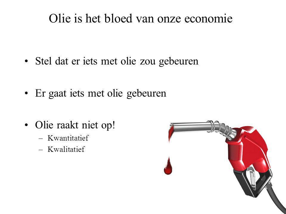 Olie is het bloed van onze economie •Stel dat er iets met olie zou gebeuren •Er gaat iets met olie gebeuren •Olie raakt niet op.