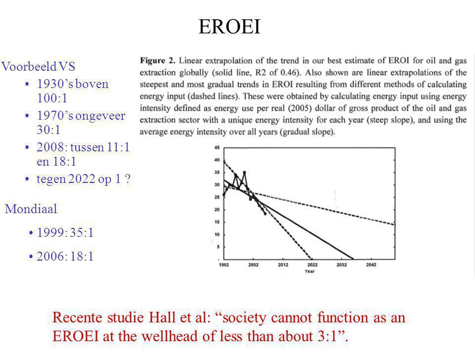 EROEI Voorbeeld VS •1930's boven 100:1 •1970's ongeveer 30:1 •2008: tussen 11:1 en 18:1 •tegen 2022 op 1 .