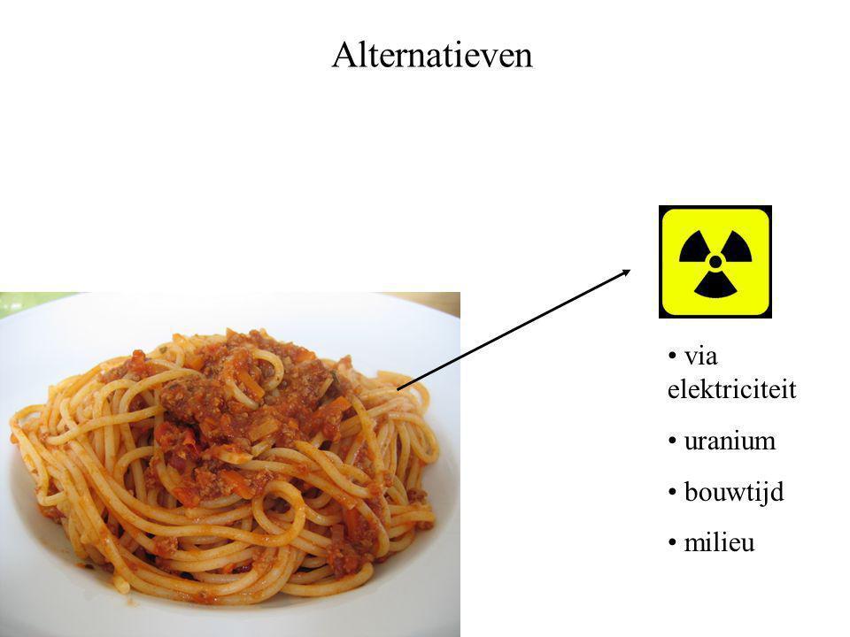 Alternatieven • via elektriciteit • uranium • bouwtijd • milieu