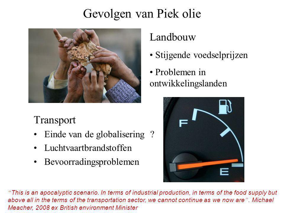 Gevolgen van Piek olie Transport •Einde van de globalisering .