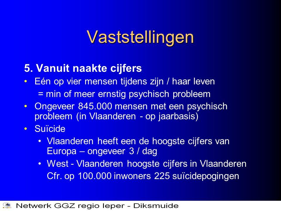 Vaststellingen 5. Vanuit naakte cijfers •Eén op vier mensen tijdens zijn / haar leven = min of meer ernstig psychisch probleem •Ongeveer 845.000 mense