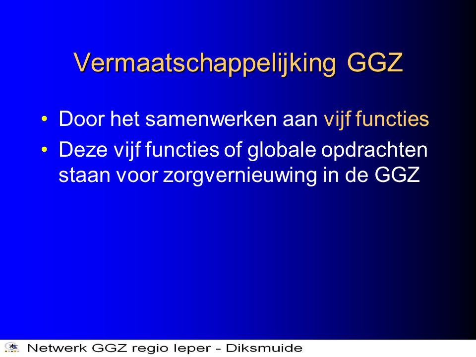 Vermaatschappelijking GGZ •Door het samenwerken aan vijf functies •Deze vijf functies of globale opdrachten staan voor zorgvernieuwing in de GGZ