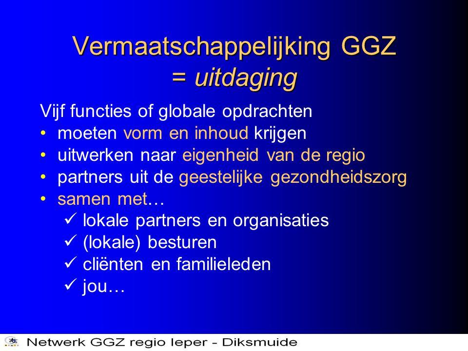 Vermaatschappelijking GGZ = uitdaging Vijf functies of globale opdrachten •moeten vorm en inhoud krijgen •uitwerken naar eigenheid van de regio •partn