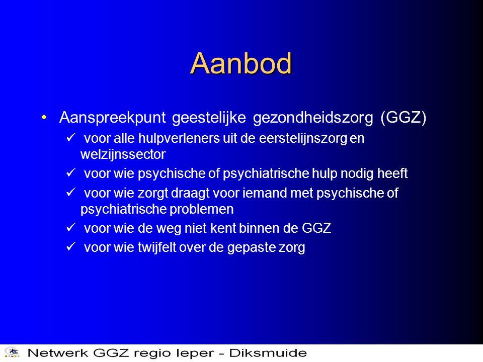 Aanbod •Aanspreekpunt geestelijke gezondheidszorg (GGZ)  voor alle hulpverleners uit de eerstelijnszorg en welzijnssector  voor wie psychische of ps