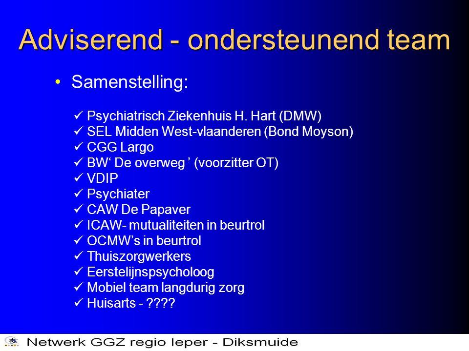 Adviserend - ondersteunend team •Samenstelling:  Psychiatrisch Ziekenhuis H. Hart (DMW)  SEL Midden West-vlaanderen (Bond Moyson)  CGG Largo  BW'