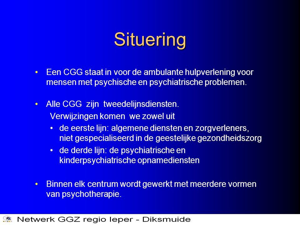 Situering •Een CGG staat in voor de ambulante hulpverlening voor mensen met psychische en psychiatrische problemen. •Alle CGG zijn tweedelijnsdiensten