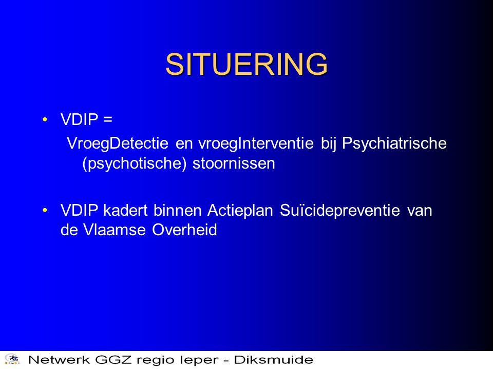 SITUERING •VDIP = VroegDetectie en vroegInterventie bij Psychiatrische (psychotische) stoornissen •VDIP kadert binnen Actieplan Suïcidepreventie van d