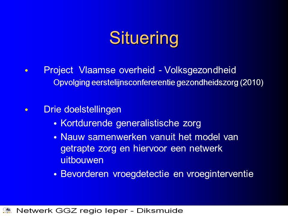 Situering • Project Vlaamse overheid - Volksgezondheid Opvolging eerstelijnsconfererentie gezondheidszorg (2010) • Drie doelstellingen • Kortdurende g