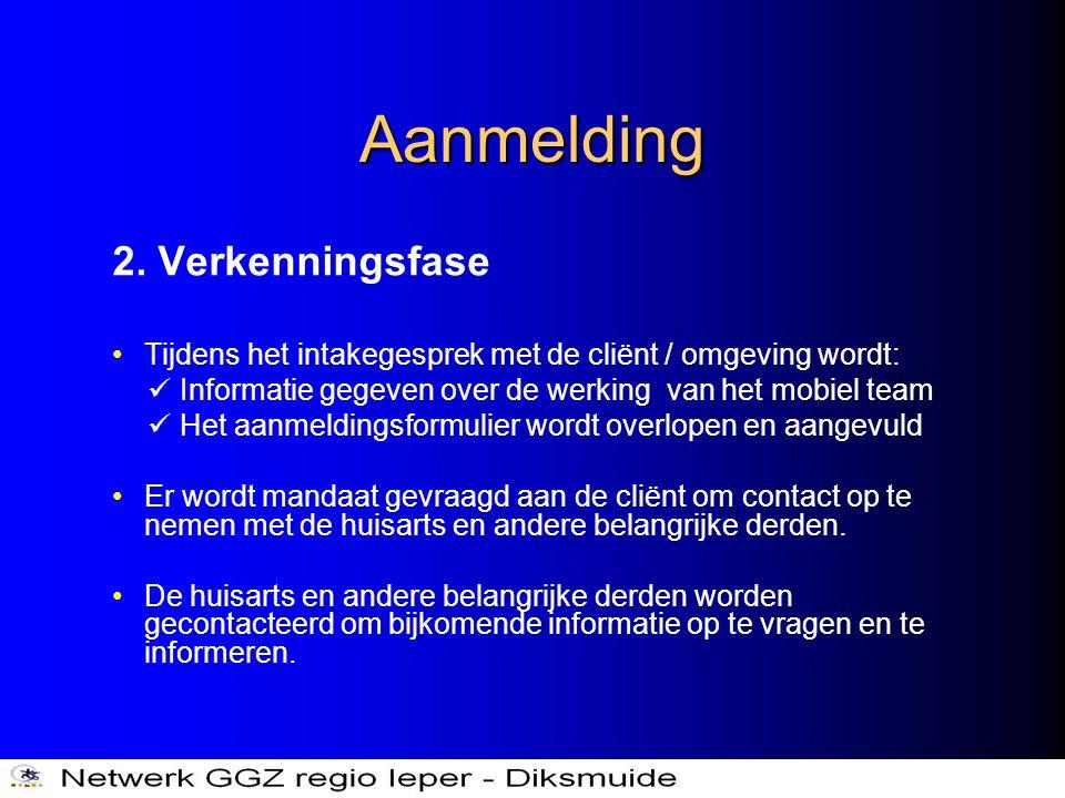 Aanmelding 2. Verkenningsfase •Tijdens het intakegesprek met de cliënt / omgeving wordt:  Informatie gegeven over de werking van het mobiel team  He