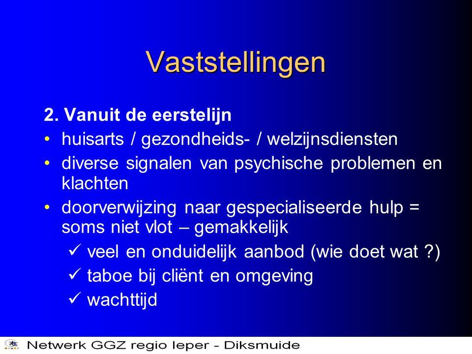 Vaststellingen 2. Vanuit de eerstelijn •huisarts / gezondheids- / welzijnsdiensten •diverse signalen van psychische problemen en klachten •doorverwijz