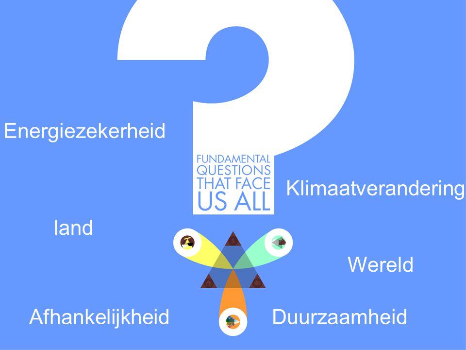 30 Fundamental questions that face us all Afhankelijkheid Duurzaamheid Klimaatverandering Energiezekerheid land Wereld
