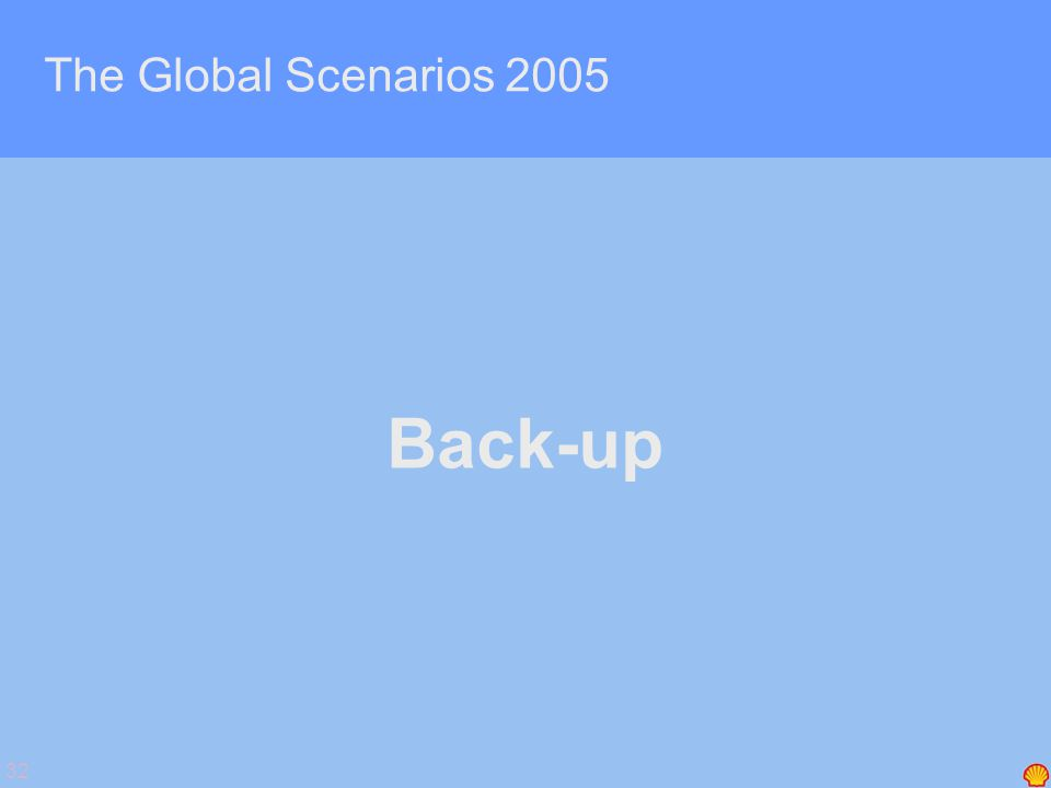 32 The Global Scenarios 2005 Back-up
