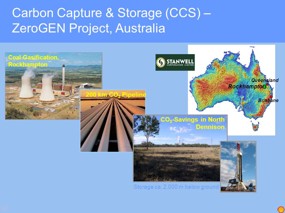 45 Carbon Capture & Storage (CCS) – ZeroGEN Project, Australia Coal Gasification, Rockhampton 200 km CO 2 Pipeline CO 2 -Savings in North Dennison Sto