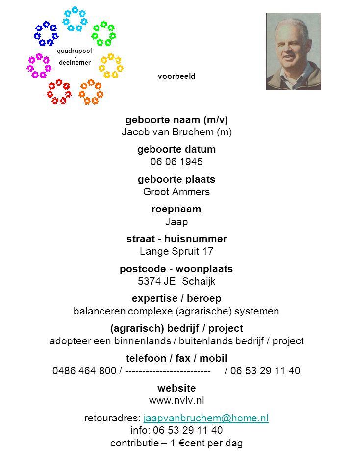 geboorte naam (m/v) Jacob van Bruchem (m) geboorte datum 06 06 1945 geboorte plaats Groot Ammers roepnaam Jaap straat - huisnummer Lange Spruit 17 pos