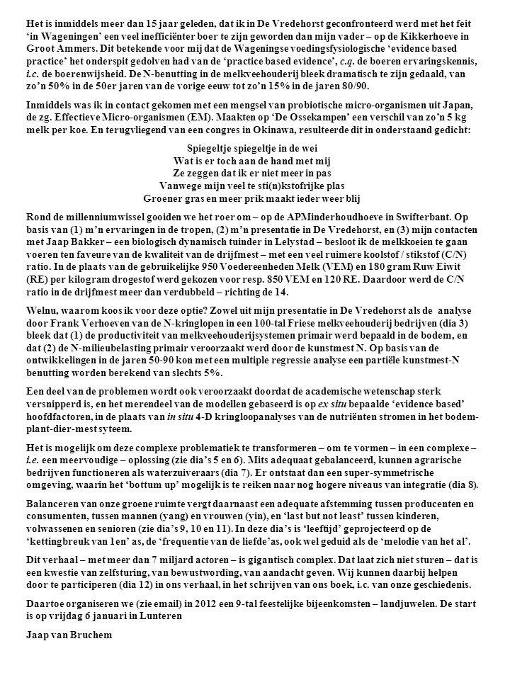 Het is inmiddels meer dan 15 jaar geleden, dat ik in De Vredehorst geconfronteerd werd met het feit 'in Wageningen' een veel inefficiënter boer te zij