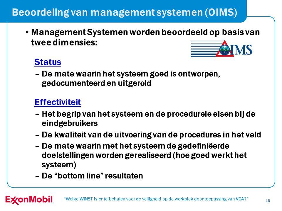 """""""Welke WINST is er te behalen voor de veiligheid op de werkplek door toepassing van VCA?"""" 19 Beoordeling van management systemen (OIMS) •Management Sy"""