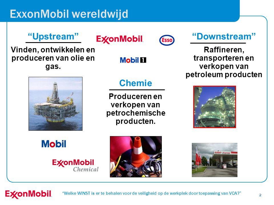 """""""Welke WINST is er te behalen voor de veiligheid op de werkplek door toepassing van VCA?"""" 2 ExxonMobil wereldwijd """"Upstream"""" Vinden, ontwikkelen en pr"""