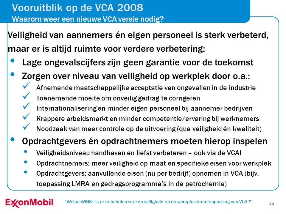 """""""Welke WINST is er te behalen voor de veiligheid op de werkplek door toepassing van VCA?"""" 25 Vooruitblik op de VCA 2008 Waarom weer een nieuwe VCA ver"""