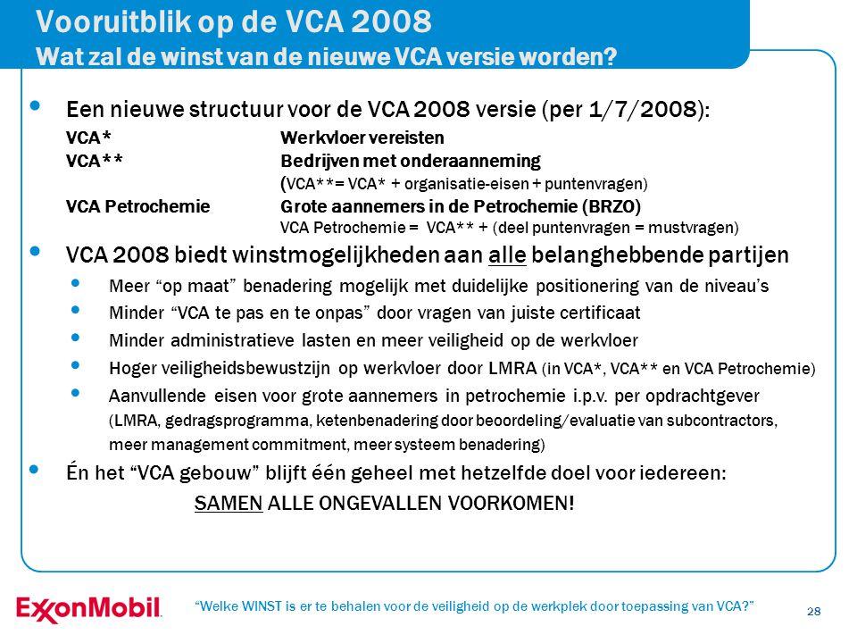 """""""Welke WINST is er te behalen voor de veiligheid op de werkplek door toepassing van VCA?"""" 28 • Een nieuwe structuur voor de VCA 2008 versie (per 1/7/2"""