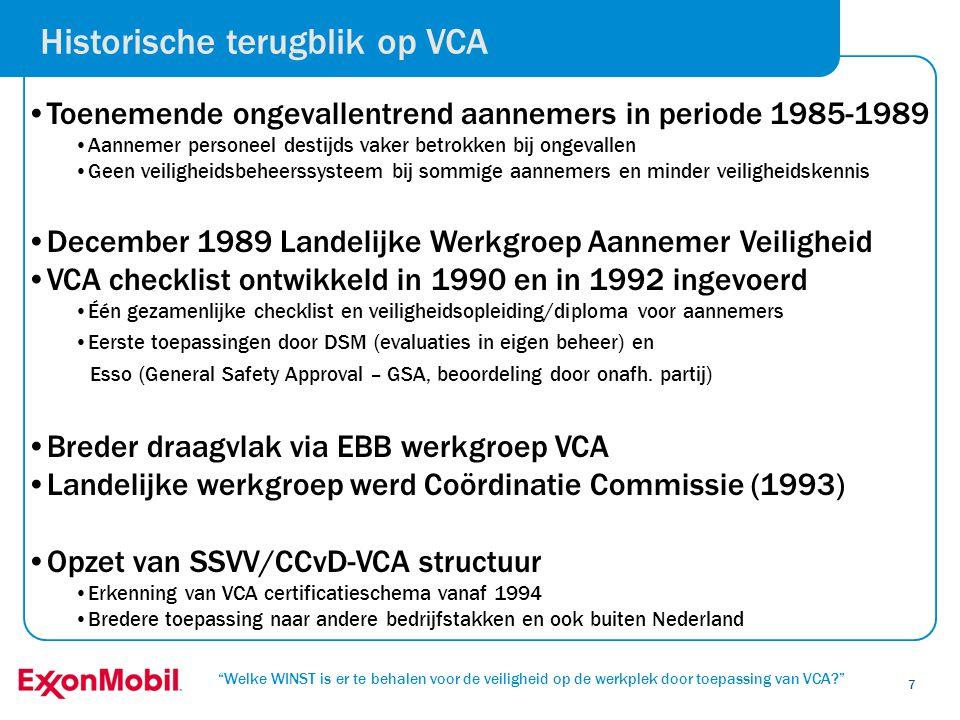 Welke WINST is er te behalen voor de veiligheid op de werkplek door toepassing van VCA? 28 • Een nieuwe structuur voor de VCA 2008 versie (per 1/7/2008): VCA*Werkvloer vereisten VCA** Bedrijven met onderaanneming ( VCA**= VCA* + organisatie-eisen + puntenvragen) VCA PetrochemieGrote aannemers in de Petrochemie (BRZO) VCA Petrochemie = VCA** + (deel puntenvragen = mustvragen) • VCA 2008 biedt winstmogelijkheden aan alle belanghebbende partijen • Meer op maat benadering mogelijk met duidelijke positionering van de niveau's • Minder VCA te pas en te onpas door vragen van juiste certificaat • Minder administratieve lasten en meer veiligheid op de werkvloer • Hoger veiligheidsbewustzijn op werkvloer door LMRA (in VCA*, VCA** en VCA Petrochemie) • Aanvullende eisen voor grote aannemers in petrochemie i.p.v.