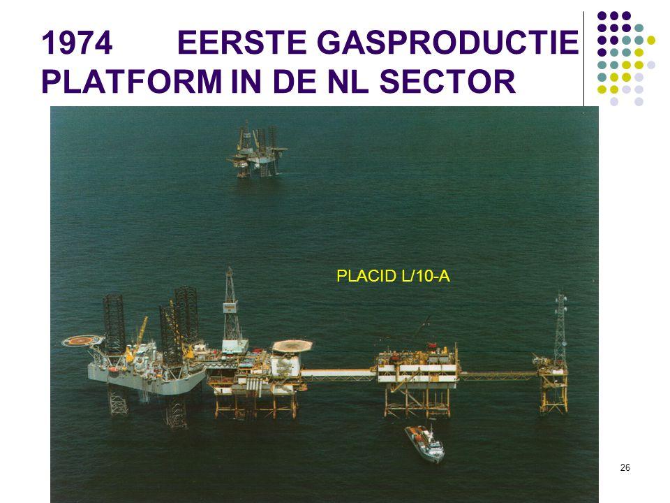 35 JAAR IRO 25 1974 EERSTE GASPRODUCTIE PLATFORM IN DE NL SECTOR PLACID L/10-A