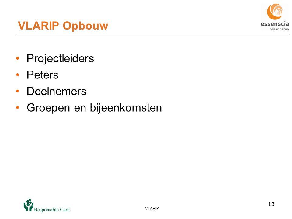 13 VLARIP 13 VLARIP Opbouw •Projectleiders •Peters •Deelnemers •Groepen en bijeenkomsten