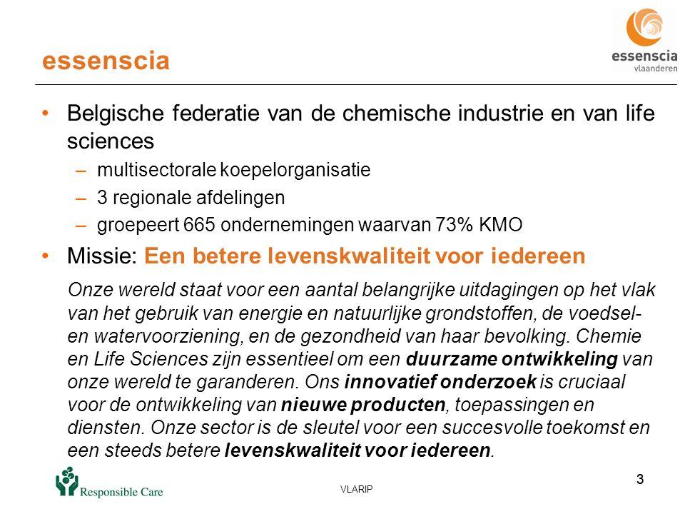 4 VLARIP 4 Essenscia: multisectorale koepel Meststoffen Biocides Biotechnologie Distributie chemische en life sciences producten Cosmetica, detergenten, surfactantia,..