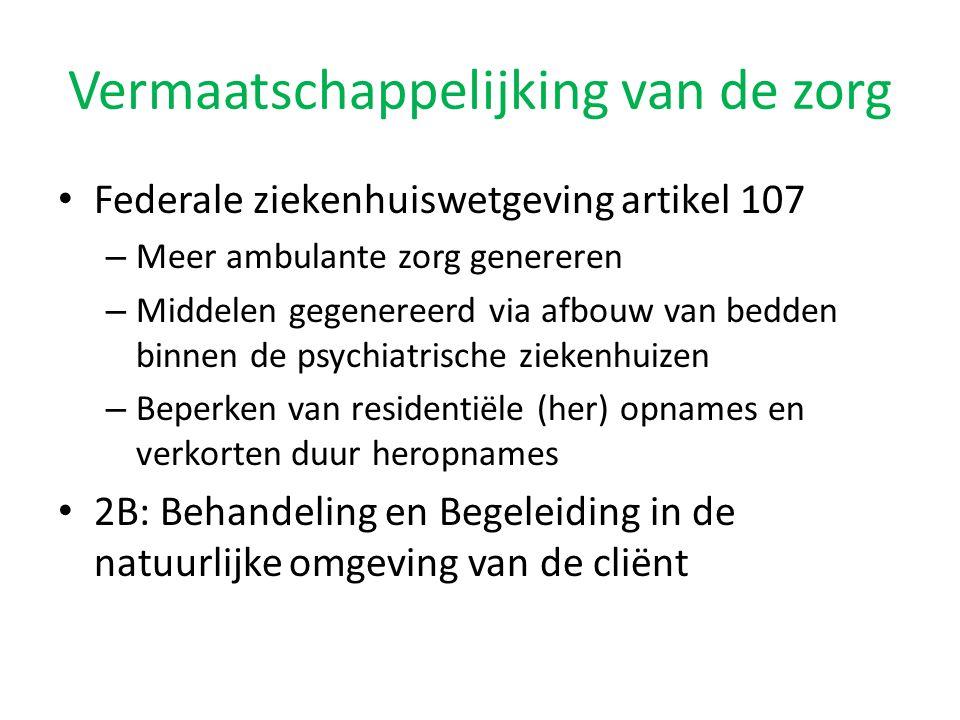• Federale ziekenhuiswetgeving artikel 107 – Meer ambulante zorg genereren – Middelen gegenereerd via afbouw van bedden binnen de psychiatrische zieke
