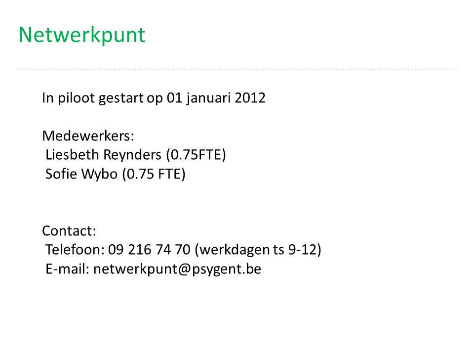 Netwerkpunt In piloot gestart op 01 januari 2012 Medewerkers: Liesbeth Reynders (0.75FTE) Sofie Wybo (0.75 FTE) Contact: Telefoon: 09 216 74 70 (werkd