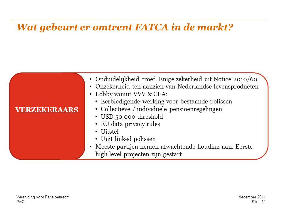 PwC Wat gebeurt er omtrent FATCA in de markt? BANK ASSET MANAGEMENT VERZEKERAARS • Onduidelijkheid troef. Enige zekerheid uit Notice 2010/60 • Onzeker