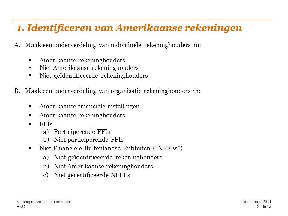 PwC 1. Identificeren van Amerikaanse rekeningen A.Maak een onderverdeling van individuele rekeninghouders in:  Amerikaanse rekeninghouders  Niet Ame