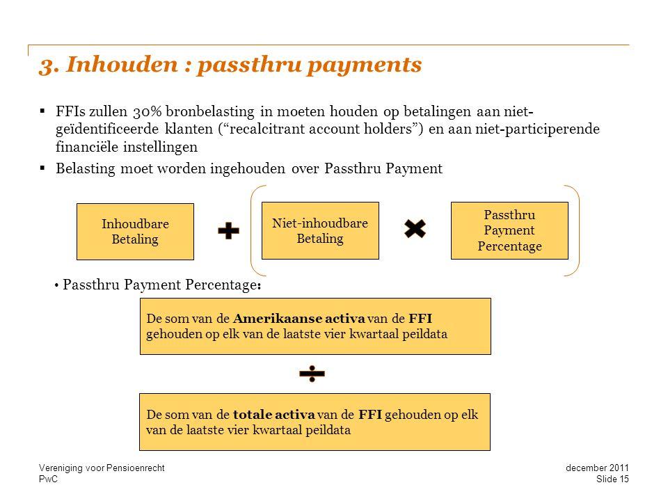"""PwC 3. Inhouden : passthru payments  FFIs zullen 30% bronbelasting in moeten houden op betalingen aan niet- geïdentificeerde klanten (""""recalcitrant a"""