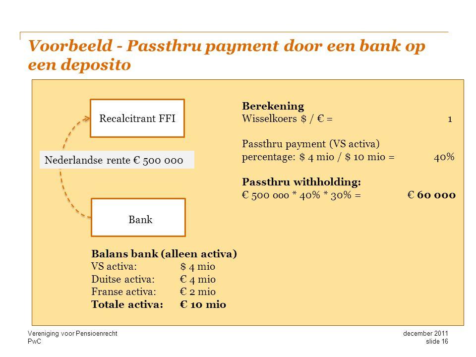 PwC Voorbeeld - Passthru payment door een bank op een deposito Bank Recalcitrant FFI Nederlandse rente € 500 000 Balans bank (alleen activa) VS activa