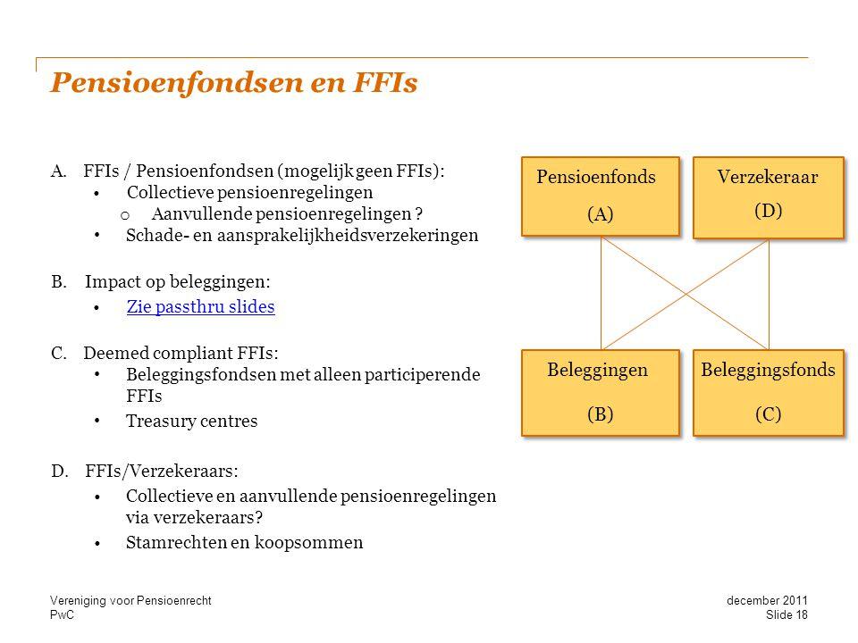 PwC Pensioenfondsen en FFIs A.FFIs / Pensioenfondsen (mogelijk geen FFIs): •Collectieve pensioenregelingen o Aanvullende pensioenregelingen ? • Schade