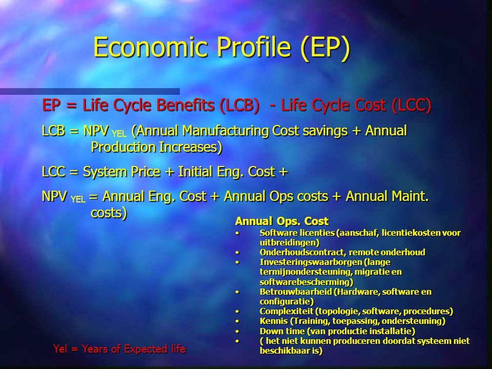 Economic Profile (EP) EP = Life Cycle Benefits (LCB) - Life Cycle Cost (LCC) LCB = NPV (Annual Manufacturing Cost savings + Annual Production Increase