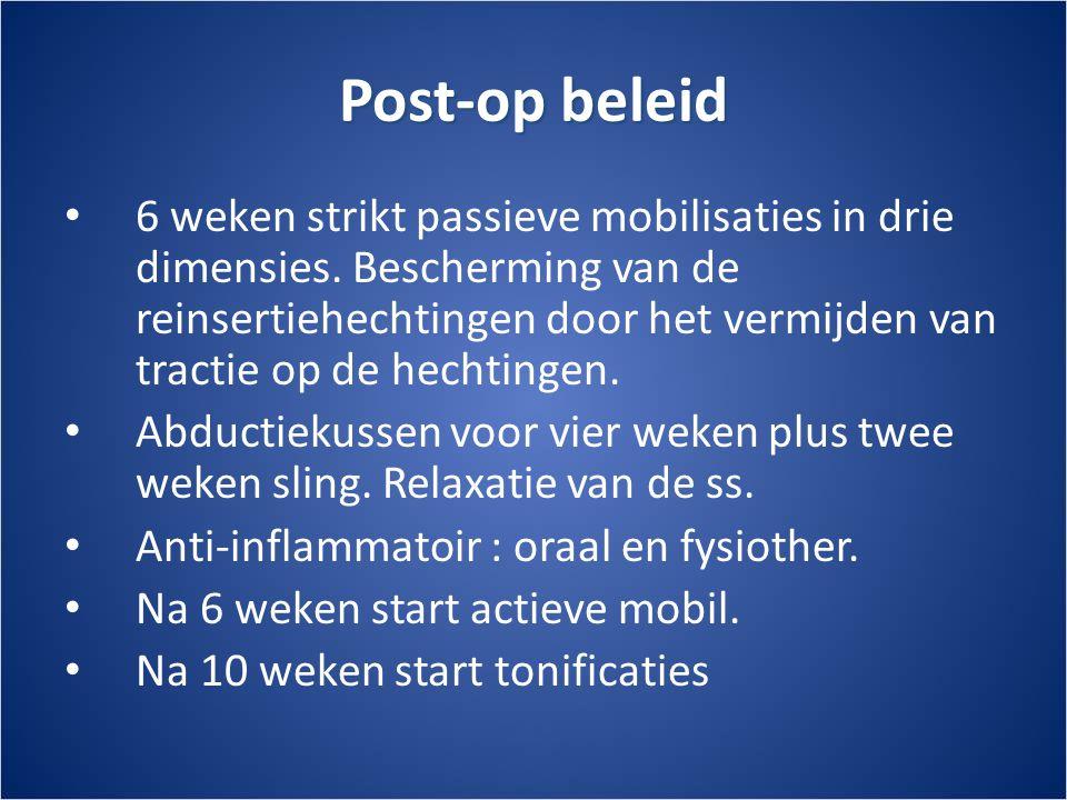 Post-op beleid • 6 weken strikt passieve mobilisaties in drie dimensies.