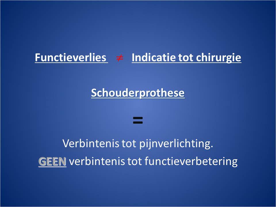 Functieverlies  Indicatie tot chirurgieSchouderprothese = Verbintenis tot pijnverlichting.