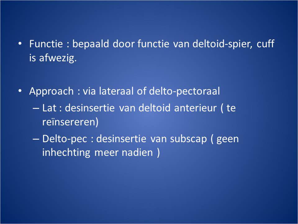 • Functie : bepaald door functie van deltoid-spier, cuff is afwezig.