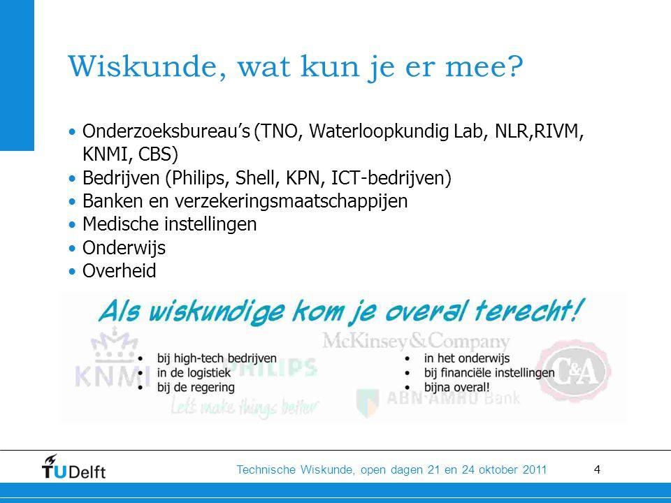 4 Technische Wiskunde, open dagen 21 en 24 oktober 2011 Wiskunde, wat kun je er mee.