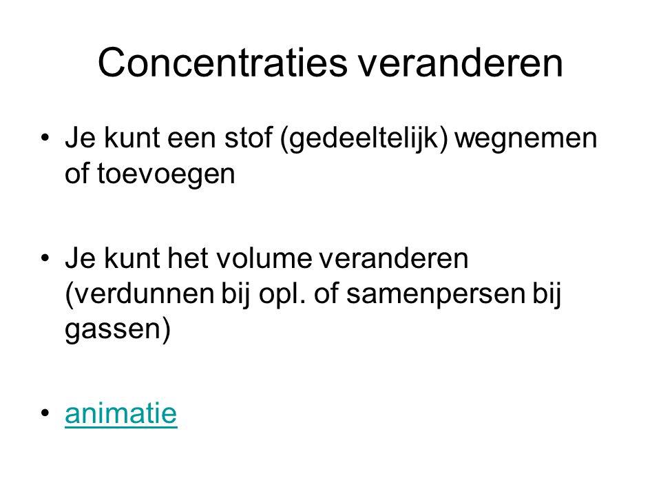 Concentraties veranderen •Je kunt een stof (gedeeltelijk) wegnemen of toevoegen •Je kunt het volume veranderen (verdunnen bij opl. of samenpersen bij