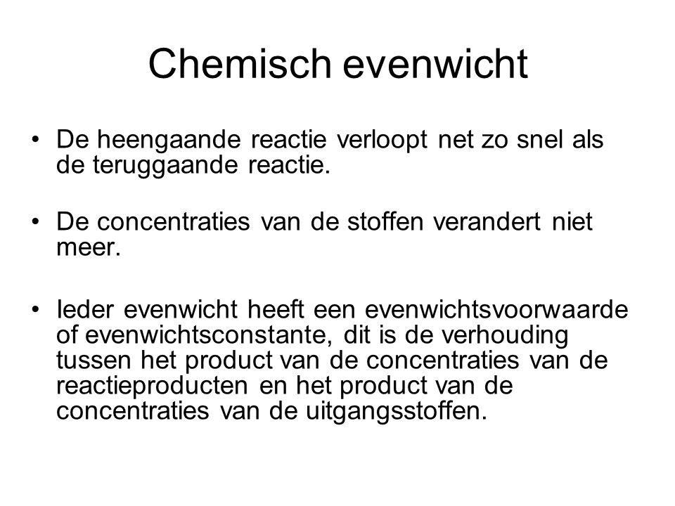 Chemisch evenwicht •De heengaande reactie verloopt net zo snel als de teruggaande reactie. •De concentraties van de stoffen verandert niet meer. •Iede