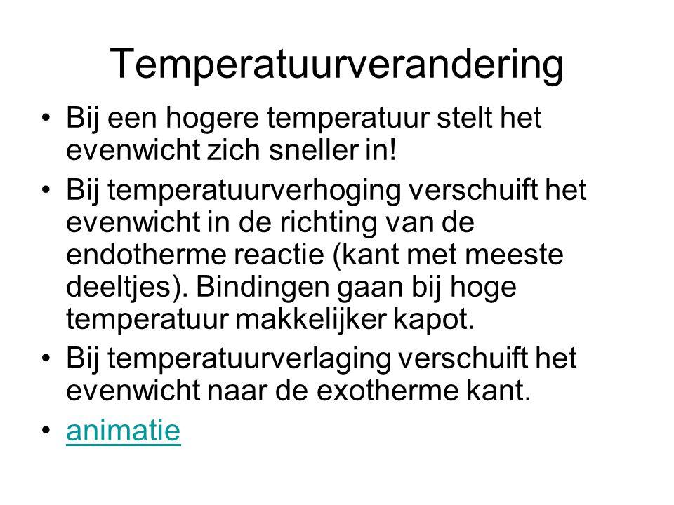 Temperatuurverandering •Bij een hogere temperatuur stelt het evenwicht zich sneller in! •Bij temperatuurverhoging verschuift het evenwicht in de richt