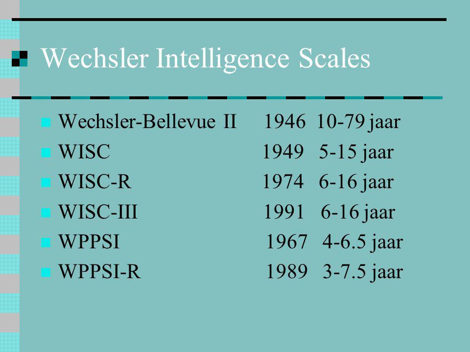 Wechsler Intelligence Scales  Wechsler-Bellevue II 1946 10-79 jaar  WISC 1949 5-15 jaar  WISC-R 1974 6-16 jaar  WISC-III 1991 6-16 jaar  WPPSI 19