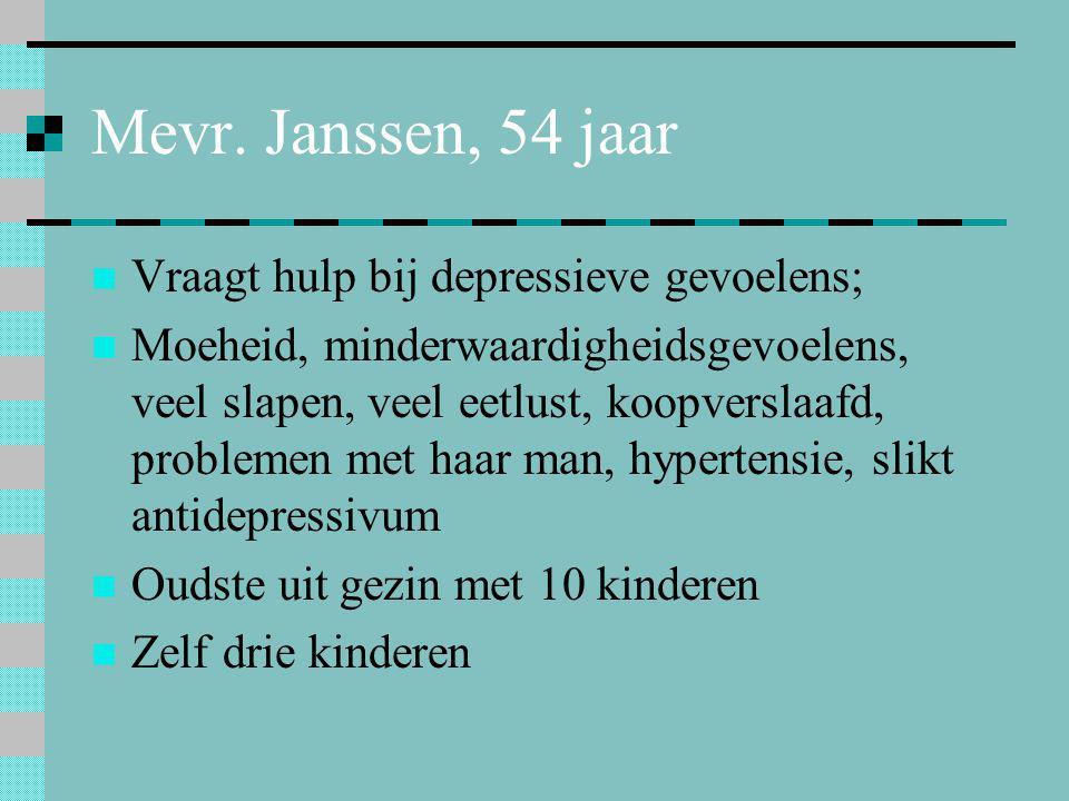 Mevr. Janssen, 54 jaar  Vraagt hulp bij depressieve gevoelens;  Moeheid, minderwaardigheidsgevoelens, veel slapen, veel eetlust, koopverslaafd, prob