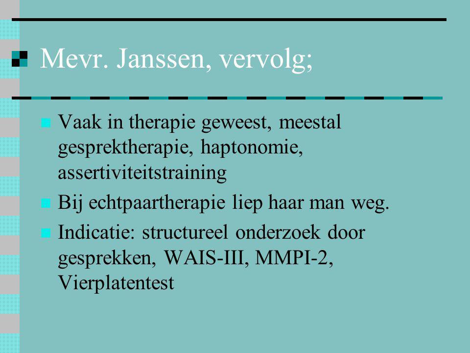 Mevr. Janssen, vervolg;  Vaak in therapie geweest, meestal gesprektherapie, haptonomie, assertiviteitstraining  Bij echtpaartherapie liep haar man w