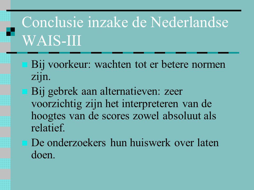 Conclusie inzake de Nederlandse WAIS-III  Bij voorkeur: wachten tot er betere normen zijn.  Bij gebrek aan alternatieven: zeer voorzichtig zijn het