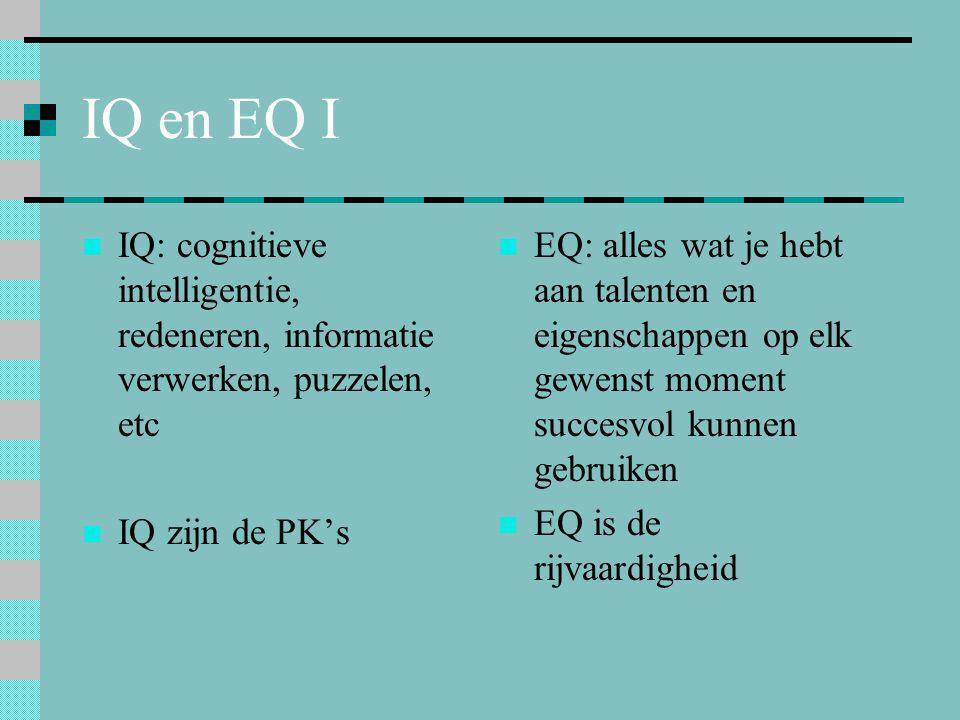 IQ en EQ I  IQ: cognitieve intelligentie, redeneren, informatie verwerken, puzzelen, etc  IQ zijn de PK's  EQ: alles wat je hebt aan talenten en ei