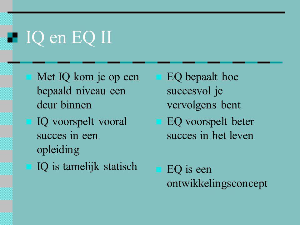 IQ en EQ II  Met IQ kom je op een bepaald niveau een deur binnen  IQ voorspelt vooral succes in een opleiding  IQ is tamelijk statisch  EQ bepaalt